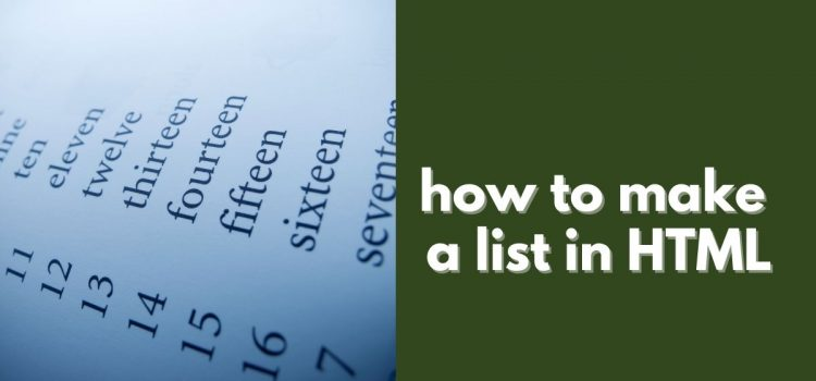 how to make a list in html